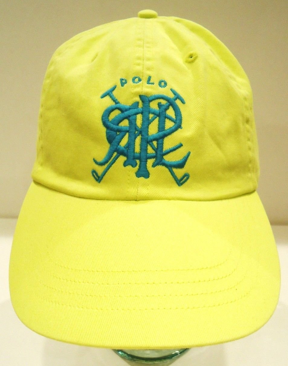 RALPH LAUREN - POLO - CROSSED - MALLETS - HAT - CAP - LEMON - YELLOW - BRAND NEW