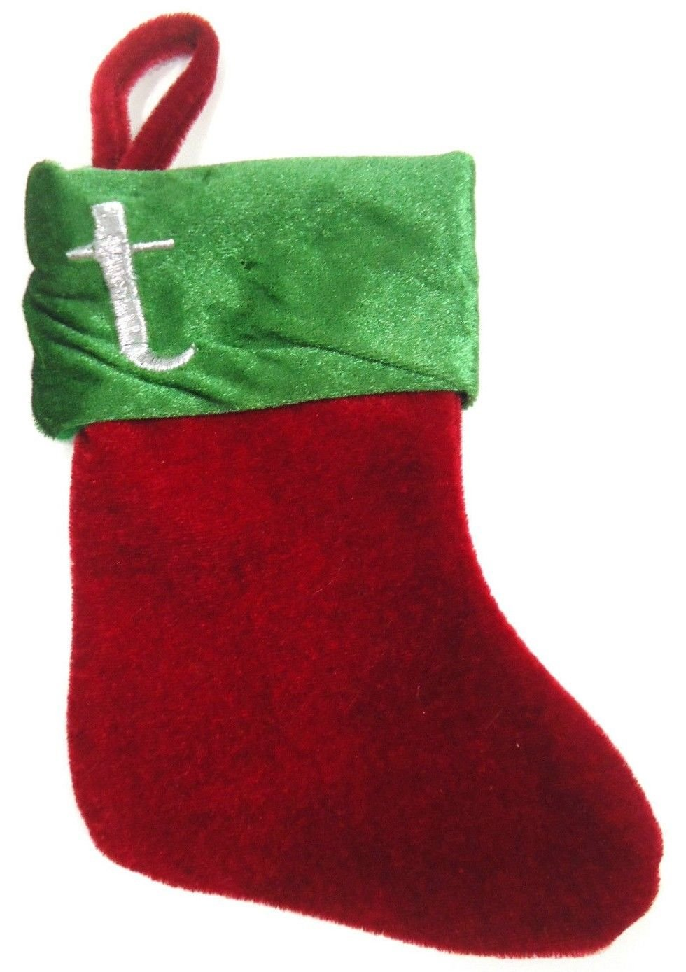 "HOME ELEMENTS - ""T"" - VELVET - MONOGRAM - GREEN - RED - MINI - STOCKING - NEW"
