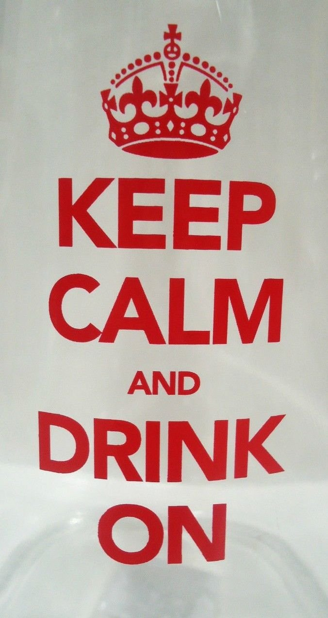 KEEP CALM & DRINK ON - BAIL - TRIGGER - BOTTLE - CLEAR - RED - NEW - 32 Oz.