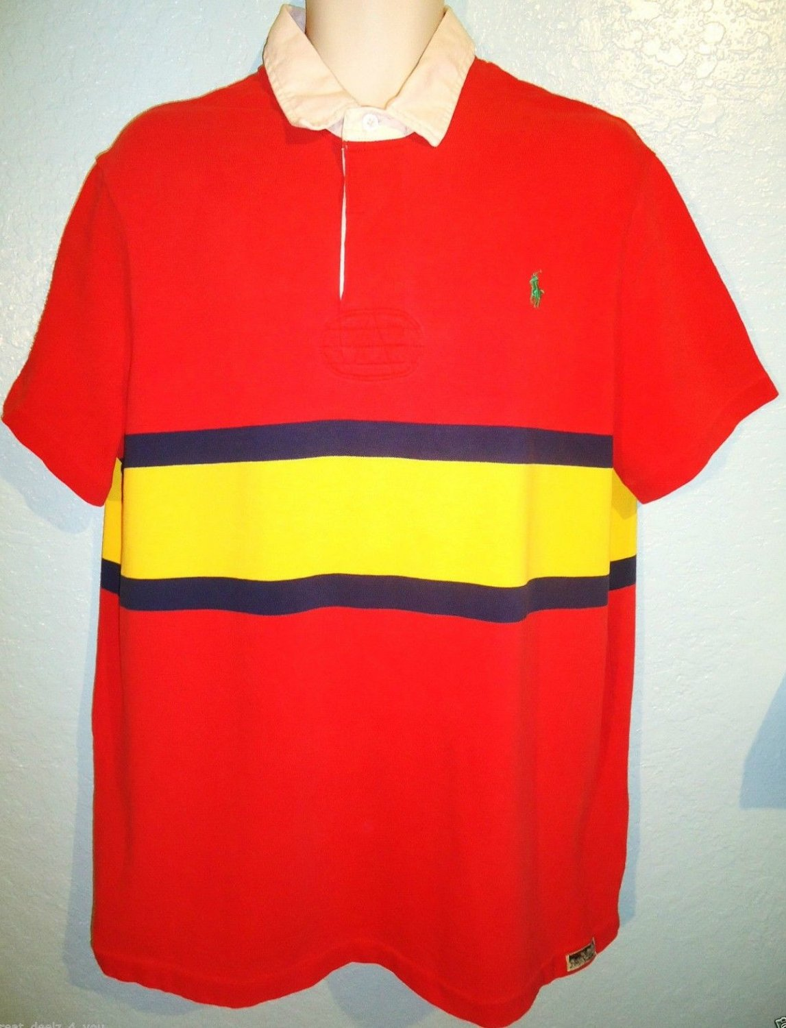 RALPH LAUREN - XL - RED - YELLOW - RUGBY - POLO - SHIRT - RRL - NEW - CUSTOM FIT