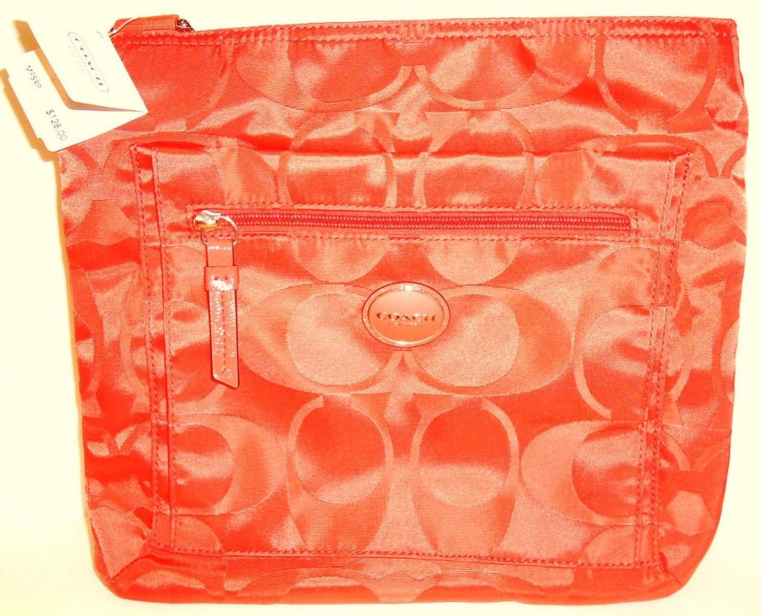 COACH - SIGNATURE - HOT - ORANGE - FILE - BAG - PURSE - LEATHER - NYLON - NEW