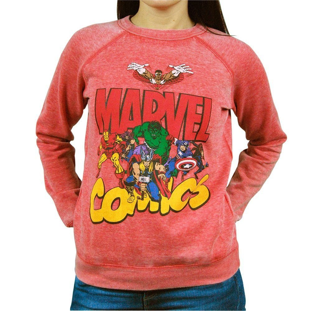 MARVEL - COMICS - RETRO - RED - SWEATSHIRT - LARGE - 11/13 - NEW - HULK - THOR