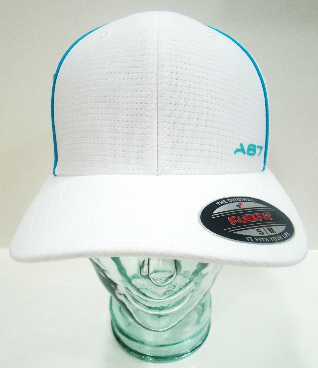 AREOPOSTALE - FLEXFIT - WHITE - AQUA - FITTED - BASEBALL - CAP - HAT - NEW - S/M