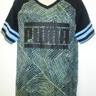 PUMA - SS - VARSITY - TEE - LIME - BLACK - BLUE - LARGE - T-SHIRT - NEW - CAMO