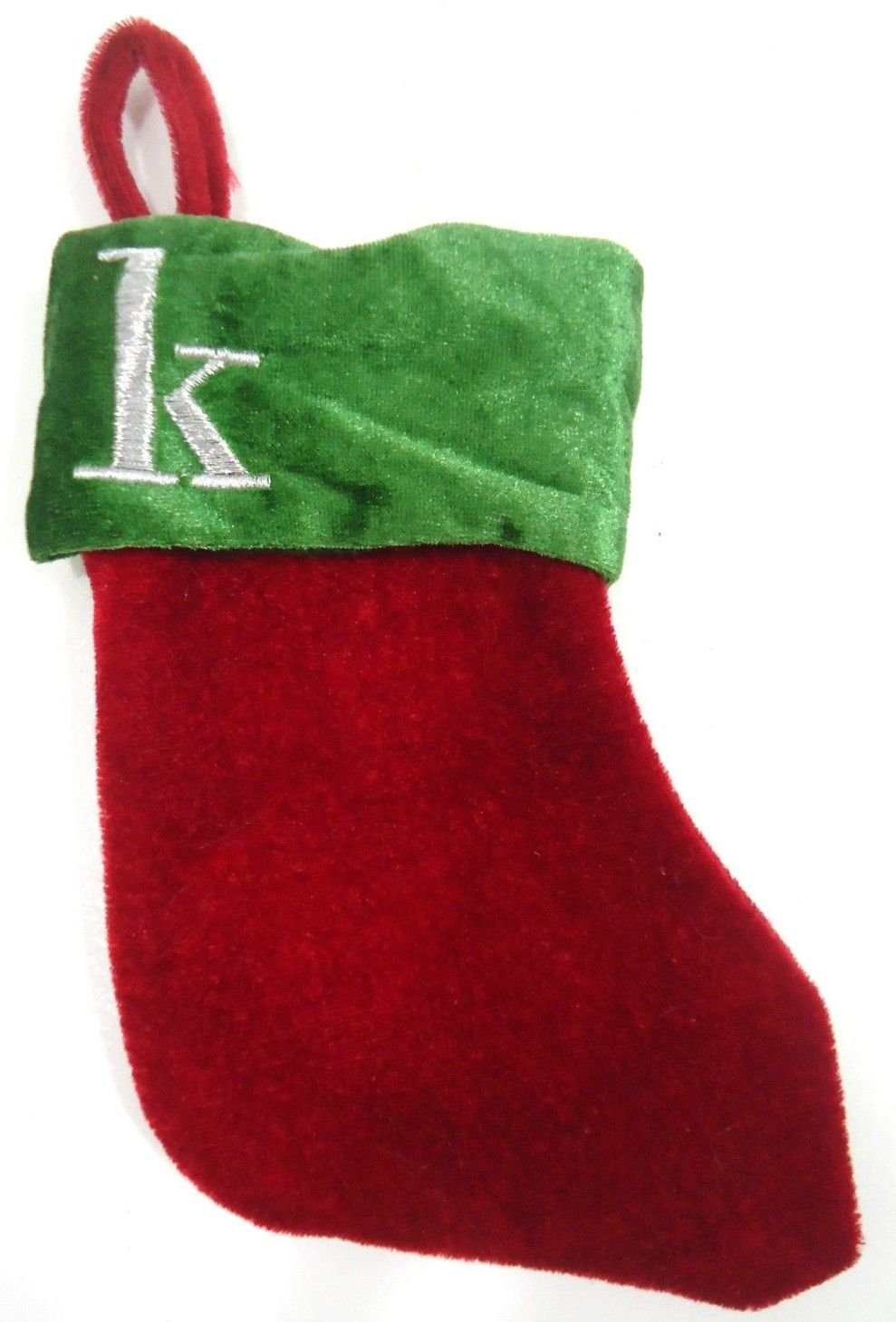 """HOME ELEMENTS - """"K"""" - VELVET - MONOGRAM - GREEN - RED - MINI - STOCKING - NEW"""