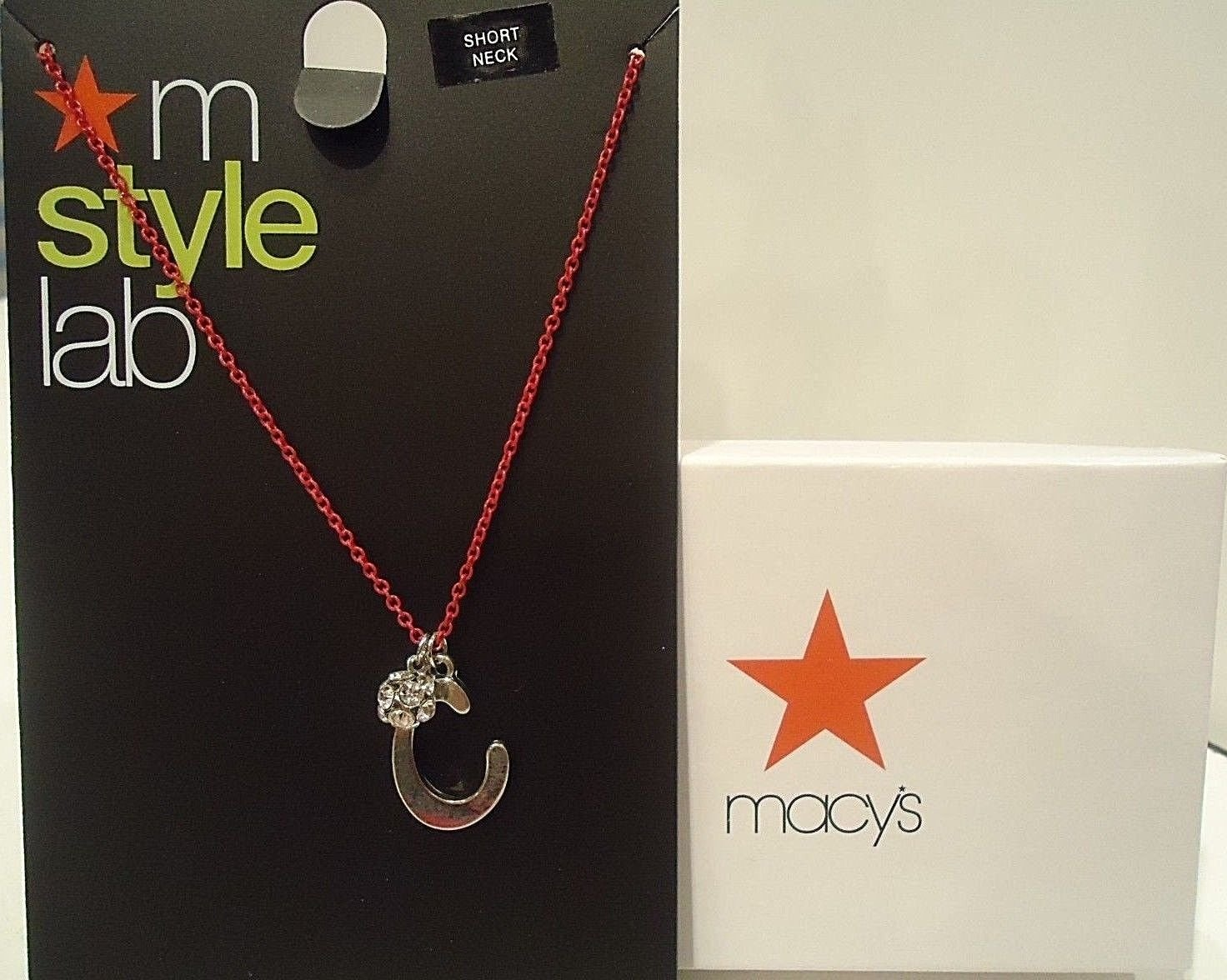 """MACY'S - M STYLE LAB - LETTER """"C"""" - FASHION - PENDANT - CHAIN - NEW - SILVER"""