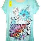 DISNEY - FROZEN - COOLEST FRIEND EVER - GLITTER - T-SHIRT - LARGE - 10/12 - NEW