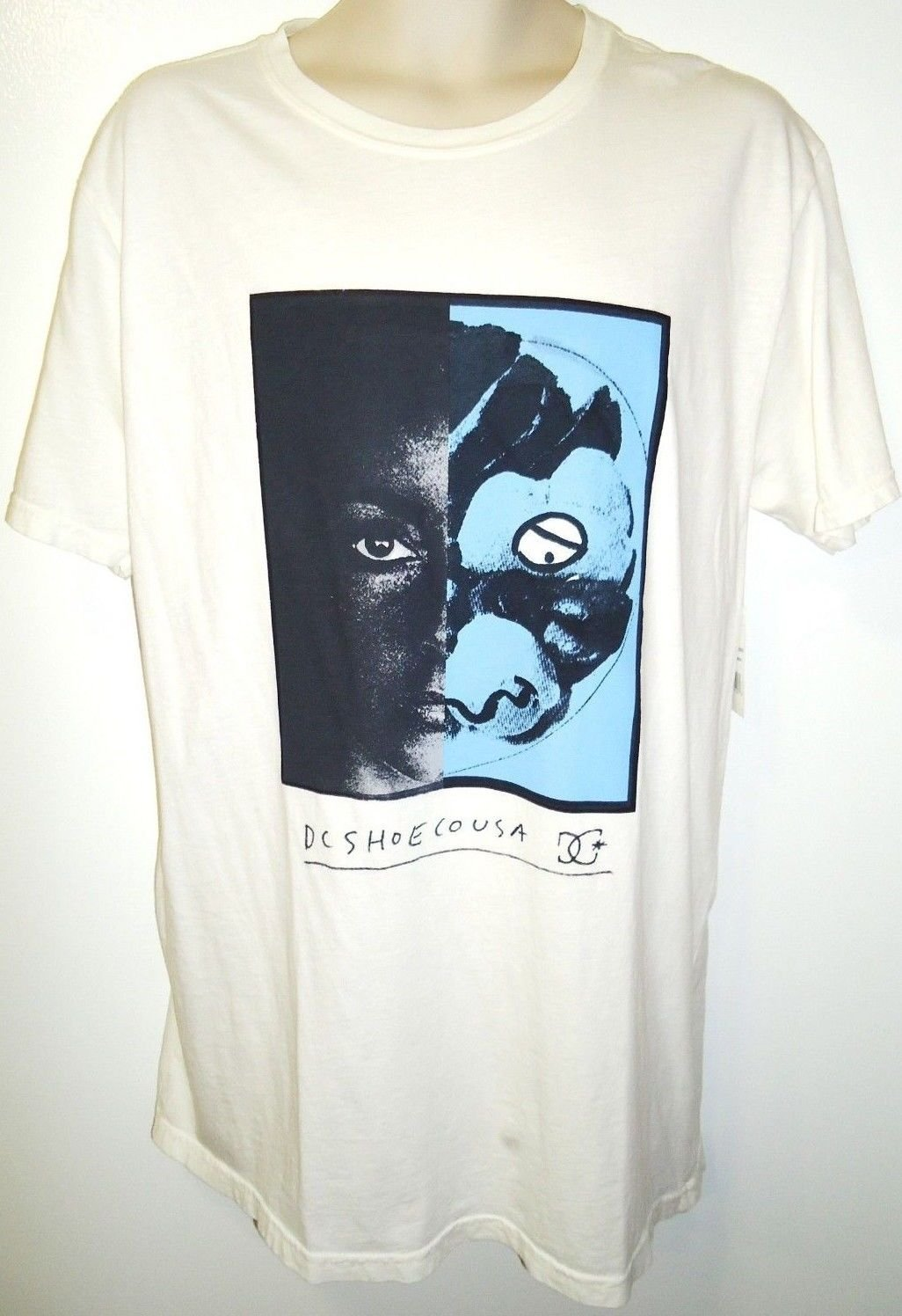 DC SHOES - MIKEY TAYLOR - WHITE - T-SHIRT - LARGE - NEW - SKATEBOARD - SURFING