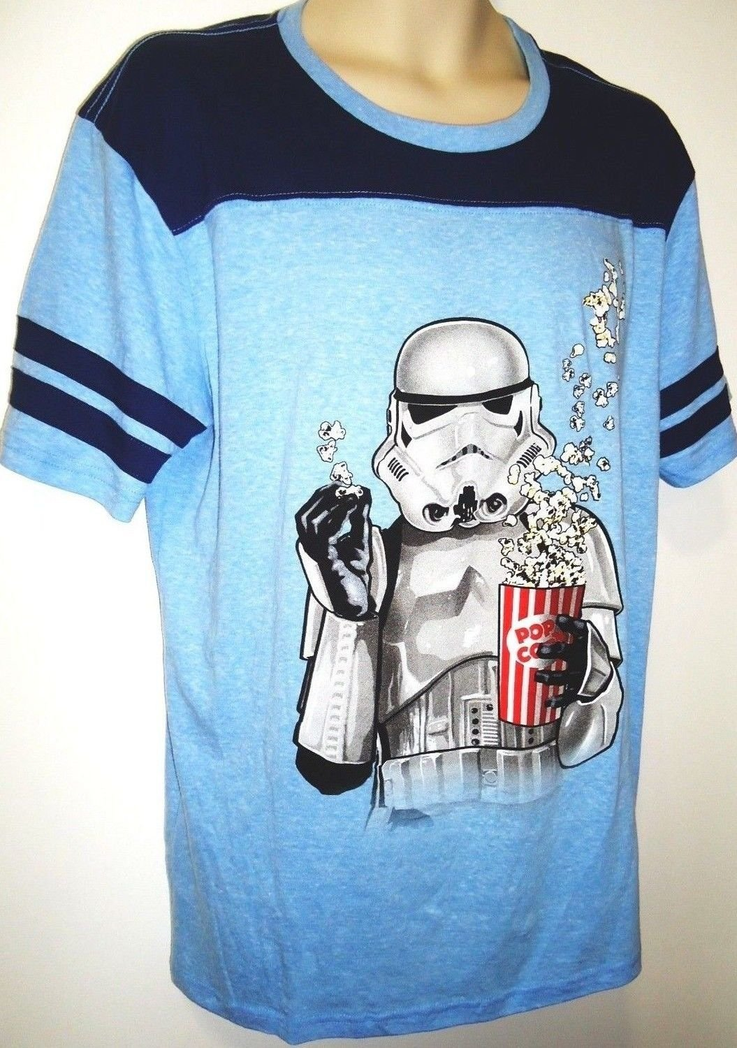 DISNEY - STAR WARS - BLUE - STORM TROOPER - LARGE - POPCORN - MOVIE - TEE - NEW