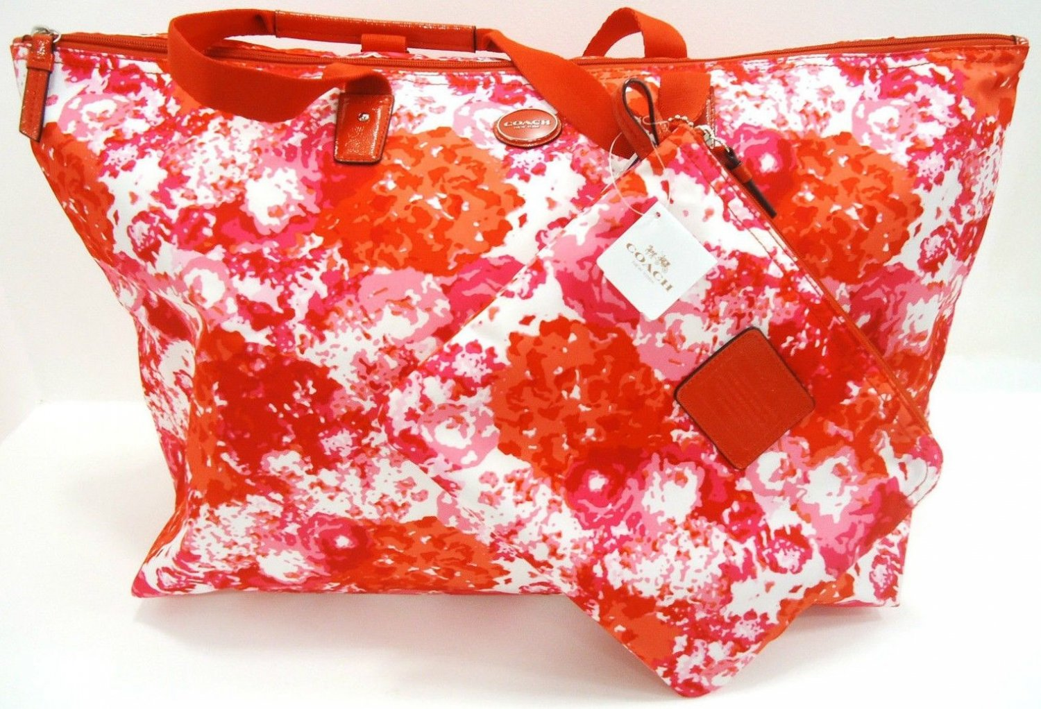 COACH -  2 PACK - PINK - WHITE - FLORAL - LARGE - WEEKENDER - BAG - PURSE - NEW