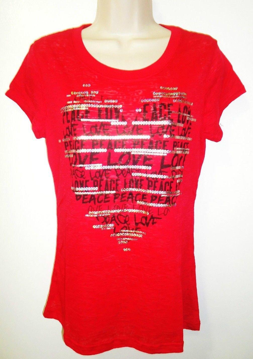 ROCKER GIRL - LOVE & PEACE - RED - HEART - T-SHIRT - XL/XG - 15/17 - BRAND NEW