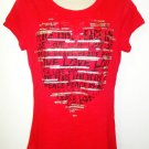 ROCKER GIRL - LOVE & PEACE - RED - HEART - T-SHIRT - XL/XG - 15/17 - BRAND NEW