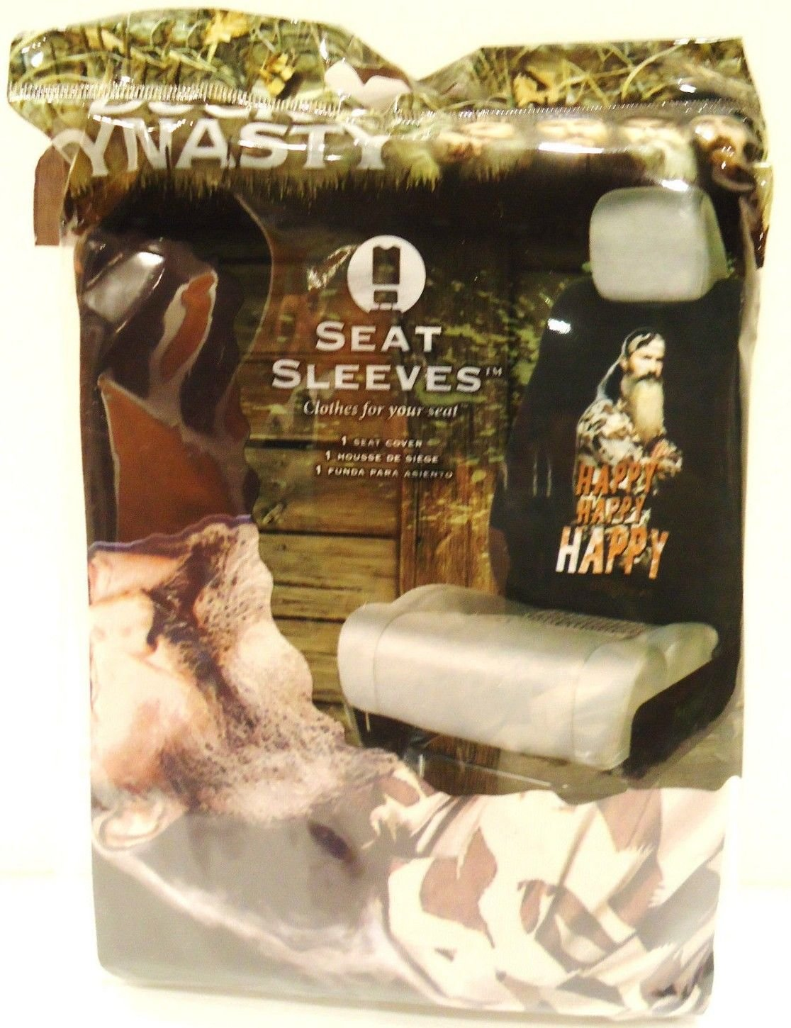 DUCK DYNASTY - HAPPY - SEAT - SLEEVES - COVER - NEW - AUTO - A&E - CAR - SEATS