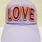 LUCKY - 777 - LOVE - RHINESTONE - LEATHER - LAVENDER - PINK - CAP - HAT - NEW