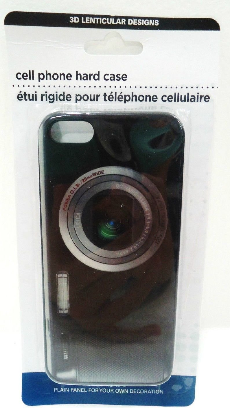 iPHONE - 5 - 3D - LENTICULAR - CAMERA - CELL PHONE - HARD - CASE - BLACK - NEW