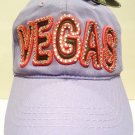 LUCKY 777 - VEGAS - RHINESTONE - LEATHER - LAVENDER - PINK - CAP - HAT - NEW