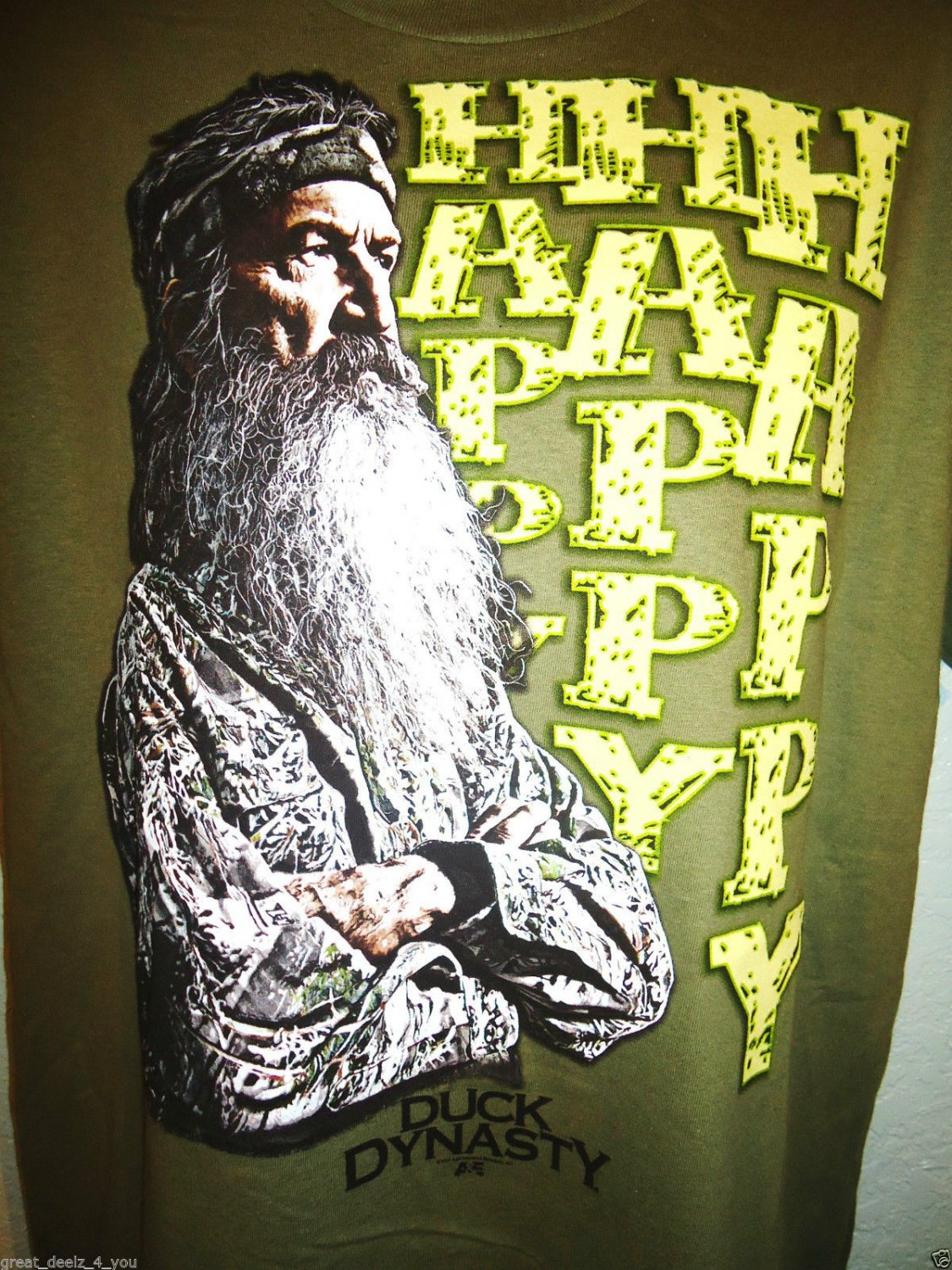 DUCK DYNASTY - HAPPY - ARMY - GREEN - T-SHIRT - TEE - BRAND NEW - A&E - LARGE