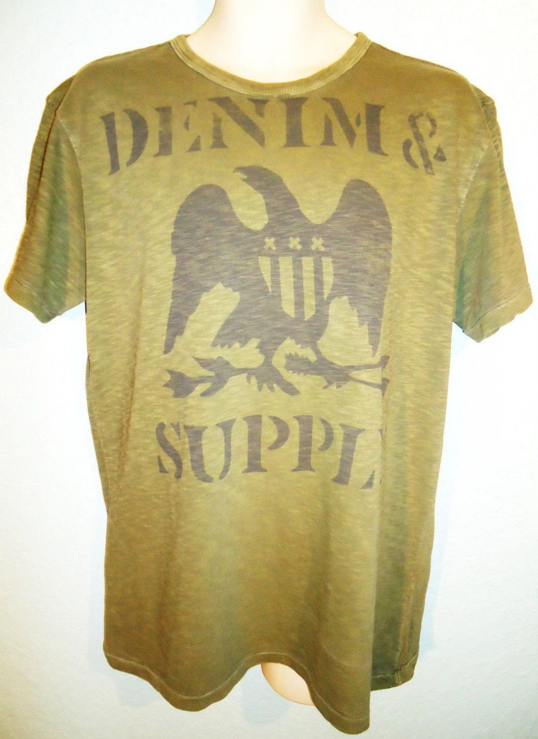 RALPH LAUREN - POLO - RL - LARGE - D&S - EAGLE - ARMY - GREEN - T-SHIRT - NEW