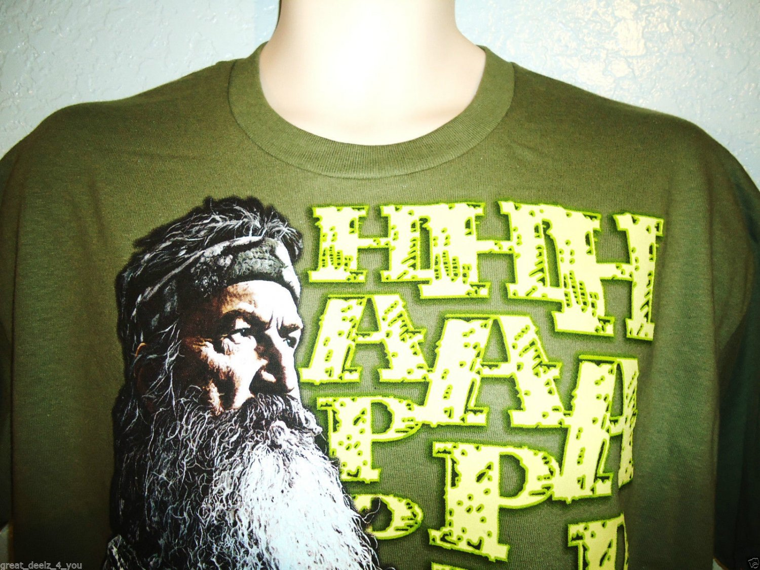 DUCK DYNASTY - HAPPY - ARMY - GREEN - T-SHIRT - TEE - BRAND NEW - A&E - XL