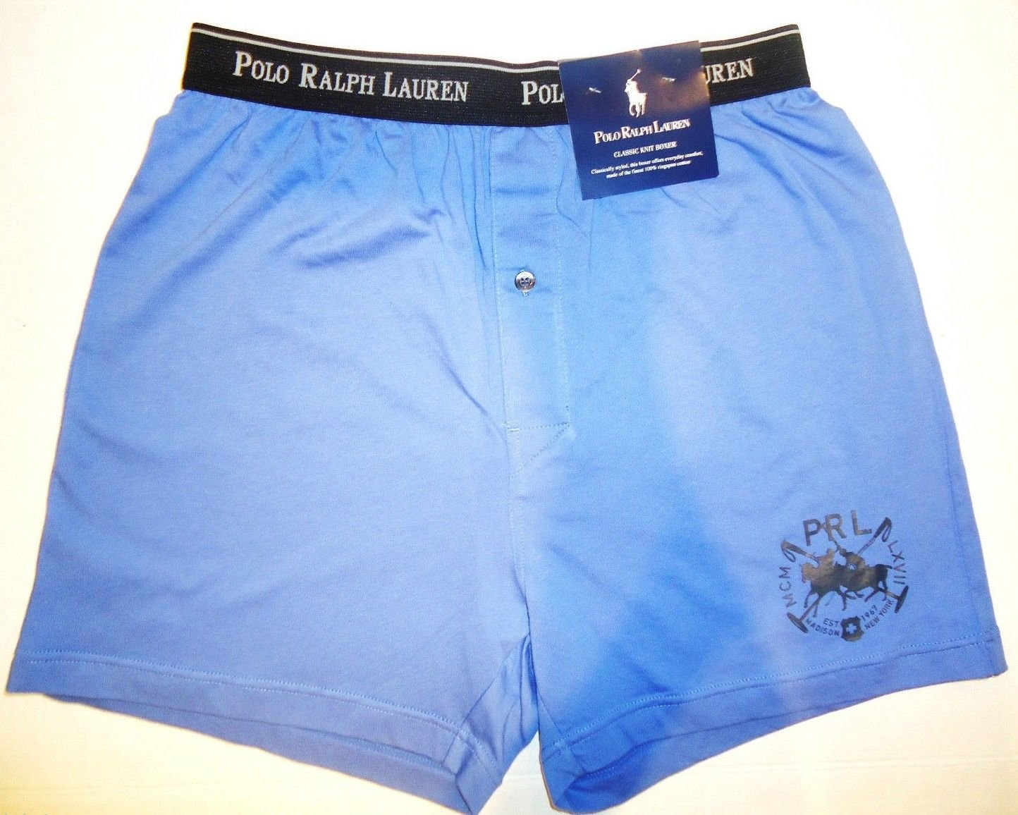 RALPH LAUREN - POLO - BLUE - CLASSIC - KNIT - BOXER - NEW - UNDERWEAR - S - RRL