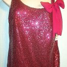 JESSICA SIMPSON - LA DI DA - RED - GLITTER - SHEER - BLOUSE - SMALL - TOP - NEW