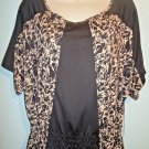 BCBG - MAX AZRIA - BLACK - SPLATTER - PRINT - BLOUSE - TOP - SHIRT - SMALL - NEW