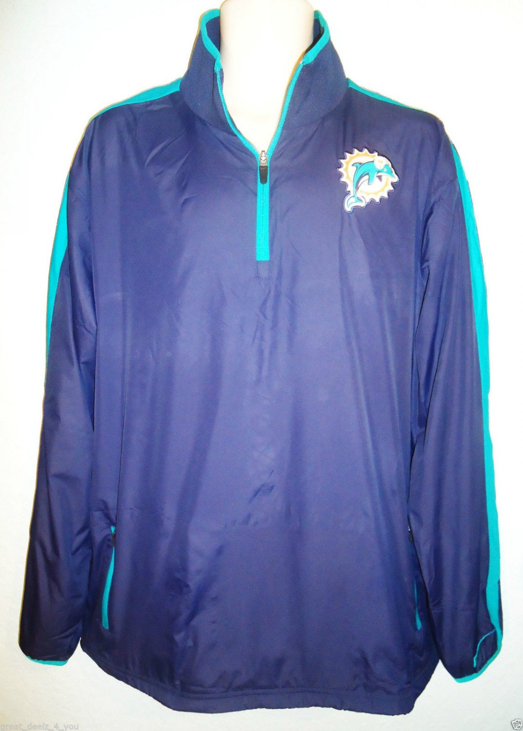 NIKE - NFL - MIAMI DOLPHINS - FOOTBALL - NAVY - TRACK - GOLF - JACKET - L - NEW