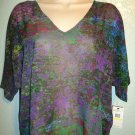 JESSICA SIMPSON - CLAUDIA - BLACK - GRAFITTI - FLORAL - BLOUSE - SMALL - NEW
