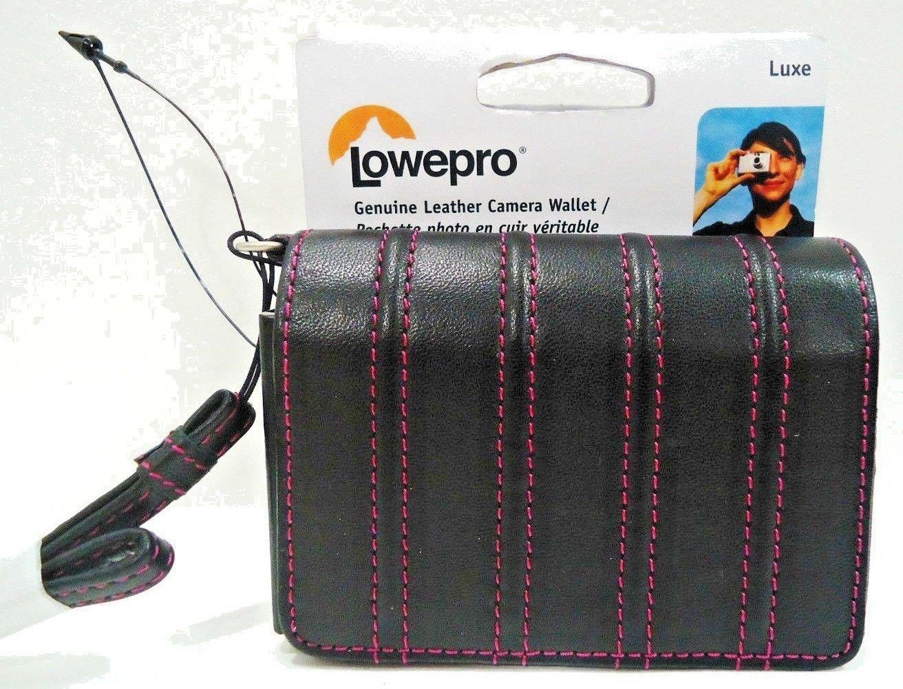 LOWEPRO - UNIVERSAL - BLACK - PINK - LEATHER - CAMERA - WALLET - NEW - SAMSUNG