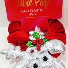 SCUNCI - REINDEER - CHRISTMAS - GIRL'S - HAIR - ELASTIC - SCRUNCHIE - CLIP - NEW