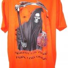 HAPPY HALLOWEEN - GLOW IN THE DARK - ORANGE - GRIM REAPER - XL - T-SHIRT - NEW