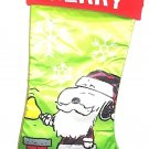 "PEANUTS - SNOOPY - CHRISTMAS - 20"" - STOCKING - RED - LIME - WHITE - BRAND NEW"