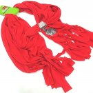 HOME ELEMENTS - WOMEN'S - CHRISTMAS - SNOWMAN - CHARM - SCARF - RED - BRAND NEW