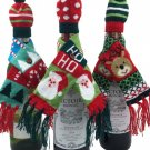 HOME ELEMENTS - WINE - BOTTLE - HOLIDAY - KNIT - GREEN - SCARF - HAT - BRAND NEW
