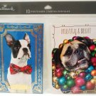 HALLMARK - FOIL - 10 PACK - DOGS - CHRISTMAS - HOLIDAY - POSTCARDS - BRAND NEW