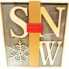HALLMARK - RUSTIC - DECORATIVE - SNOW - CHRISTMAS - WOOD - BLOCK - LETTERS - NEW