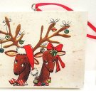 HALLMARK - CHRISTMAS - TREE - ORNAMENT - REINDEER - CANVAS - PAINTING - NEW