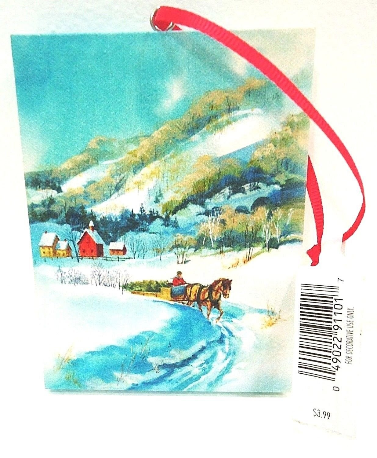 HALLMARK - CHRISTMAS - TREE - ORNAMENT - SNOW - HORSE - CANVAS - PAINTING - NEW