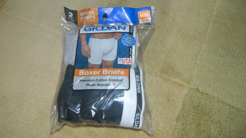 Gildan Men's 2 Pack Boxer Brief sz M