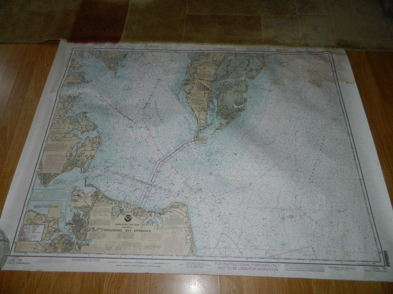 NOAA Sounding Map - Chesapeake Bay Entrance - 1992  - Nautical - Viginia