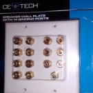 Outlet Wall Plates: CE TECH Audio & Video Speaker WallPlate with 14 Binding Post
