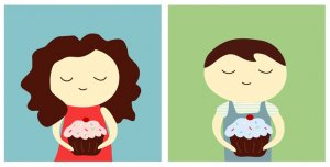 cupcakes diptych - set of two 5x5 prints