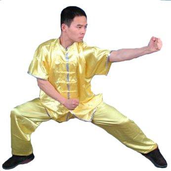 2.2.5.160 Yellow wushu / tai ji satin shortsleeve uniform