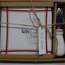 "Rae Dunn Red Line Striped ""Taste"" Cheese Plate Board Knife Spreader Set New"