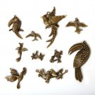 Vintage Bronze Plated Zinc Alloy Bird Parrot Magpie Charms