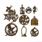 Vintage Bronze Plated Zinc Alloy Secular Bird Parrot Bird Cage Charms