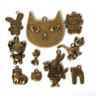 New Design Antique Bronze Plated Zinc Alloy Kitty Cat Mr. Rabbit Charms