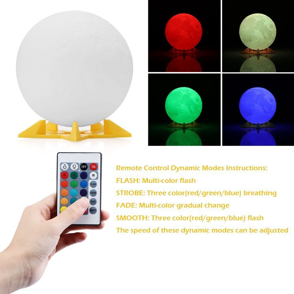 20cm 3d Print Moon Lamp Rechargeable Night Light Rgb 16