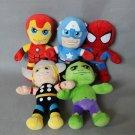 The Avengers Plush Dolls Iron man Spiderman Captain America Hulk Thor plush soft doll set