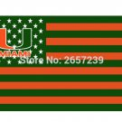 University of Miami Hurricanes with US Flag, 3x5FT mlb banner150X90CM 100D Polyester